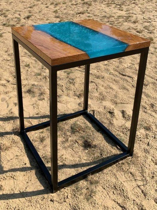 Epoxid Flusstisch Hochglanz-Tischplatte Epoxid